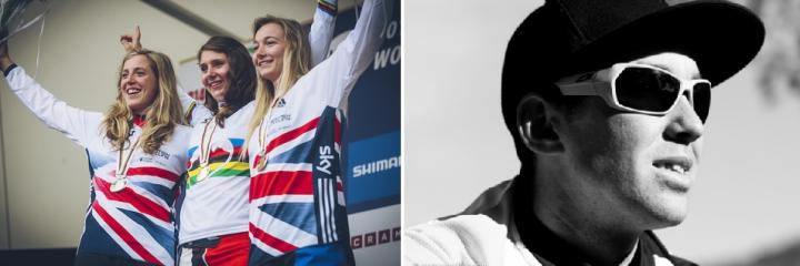 Split image of Manon Carpenter wearing a winners medal in between two runners up, and a black and white photo of Jerome Clementz