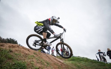 Clair Buchar riding her mountain bike