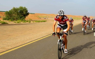 Image of cycle racers in desert