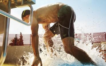 image of man leaving swimming pool